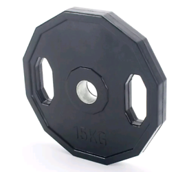2 x 15kg Rubber Olympic Weight Plates Brand New
