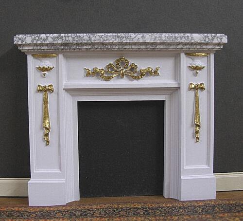 """FIREPLACE  """"RIBBON"""" GOLD DETAIL~ Marble ~ Dollhouse Mini ~ 1:12 scale ~ Artist"""