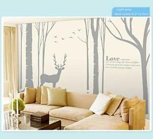 Birch Tree Wall Decal Forest with Birds and Deer Vinyl Sticker Removable Nursery 251263