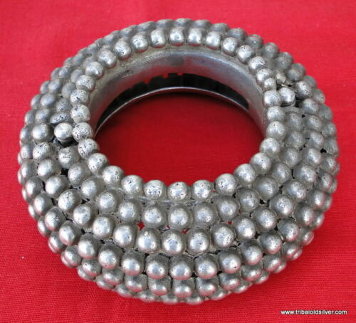 RARE ANTIQUE COLLECTIBLE ETHNIC TRIBAL OLD SILVER HUGE BRACELET BANGLE RAJASTHAN