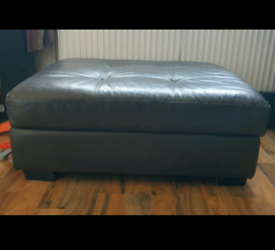 Brown leather storage pouffe/ footstool