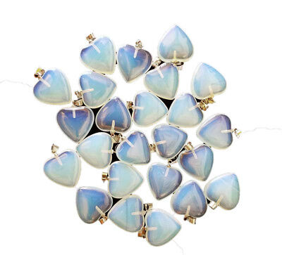 Set of 24 Opalite Hearts Gemstones Crystal Pendants, Small Tiny Size (20mm)