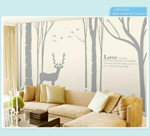 USED!Birch Tree Wall Decal Forest with Birds and Deer Vinyl Sticker Removable Nursery 251263