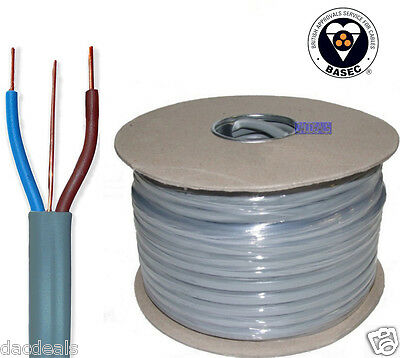BEST 2.5mm Twin and Earth T&E Electrical Cable Wire 50M Metres New Colours 6242Y