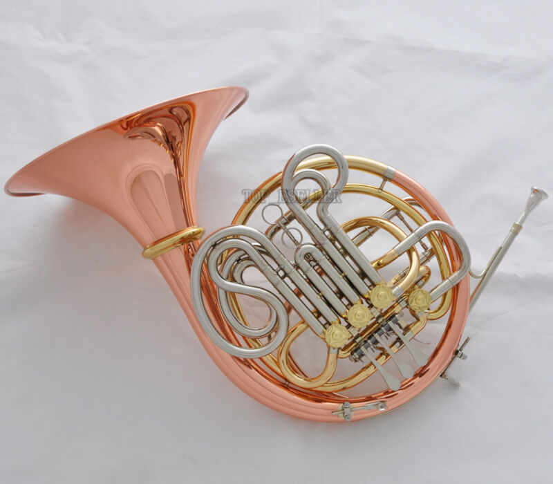 Professional Rose Brass Double French Horn Bb/F 4 Keys With Case