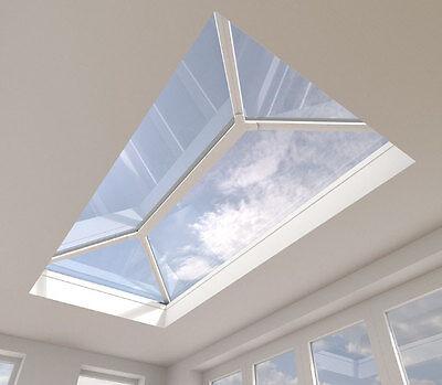 Roof Lantern Aluminium Skylight Glass Orangery Roofs White/Grey 1250mm x 1500mm