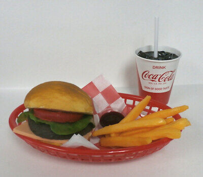 FAKE FOOD DINER CAR HOP CHEESEBURGER FRIES W/ 50'S RED & WHITE COKE CUP ](50s Car Hop)