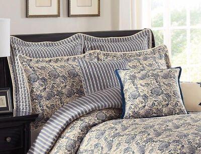 Savannah Domestic Provence European Pillow Sham ONLY! Cotton Navy/Beige Stripe