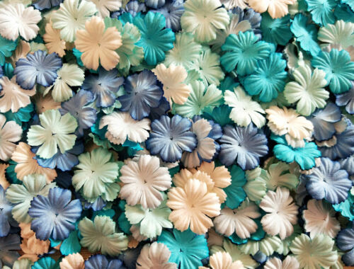 50+Mixed+Tone+Blue+White+Petals+Carnation+Flowers+Mulberry+Paper+Crafts+Wedding+