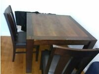 Dining table with Chairs (43 x 43 Inch, Height 42 Inch) Solid and Good Condition - 4 Legs come off