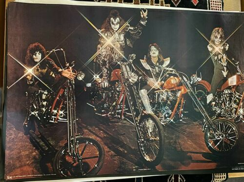 KISS VINTAGE 1976 76 MOTORCYCLE ACE PETER GENE PAUL COLLECTIBLE NOS POSTER NICE!
