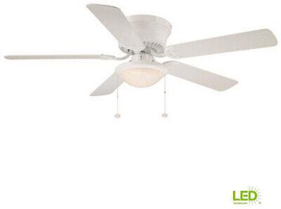 White Ceiling Fan with Light Kit Hugger 52 IN Indoor LED  5 Blades Flush Mount ()