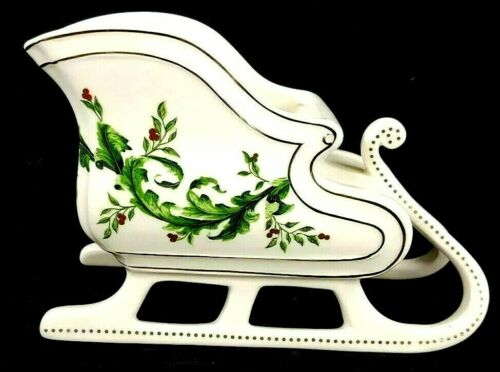 Christmas Sleigh Planter by FTD White with Holly Design 6 x 9 x 4 Porcelain