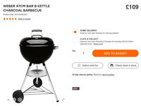 WEBER 47cm KETTLE CHARCOAL BBQ BRAND NEW NEVER TAKEN OUT OF BOX