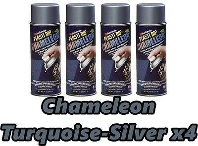 Performix Plasti Dip Chameleon Turquoise Silver 4 Pack Spray 11oz Aerosol Cans