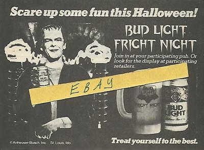 BUD LIGHT FRIGHT NIGHT HALLOWEEN TV GUIDE AD CLIPPING FRANKENSTEIN ](Halloween Tv Clips)