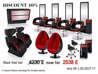 Styling Furniture for Hair Salon: barber chairs, mirrors, trolleys, & counter