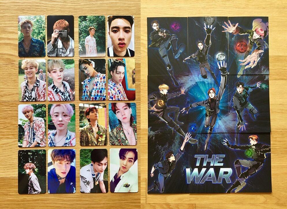 exo 4th album the war photocards 16pcs postcards 9pcs