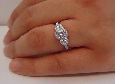925 STERLING SILVER LADIES PAST/PRESENT/FUTURE RING/SZ 5-9 / W/ 2.50CT DIAMONDS