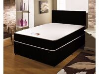 Fast Delivery: NEW 4ft6 Double Black Divan Bed Base with Memory Foam Mattress on Special Offer