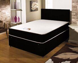 COMPLETE BLACK BED == DOUBLE DIVAN MEMORY ORTHOPEDIC BED !! BED BASE + MEMORY ORTHOPEDIC MATTRESS