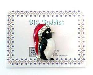 Magnet BIG NEEDLE BUDDIES ~ PENGUIN in SANTA HAT ~ Needle Holder for Needlepoint