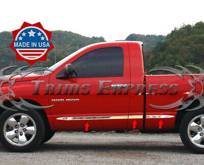 "fit:02-2008 Dodge Ram Regular Cab Short Bed 6Pc Flat Body Side Molding Trim 1.5"""
