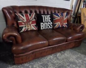 Fantastic Chesterfield Tan Monk Back 3 Seater Sofa in Tan Leather - UK Delivery