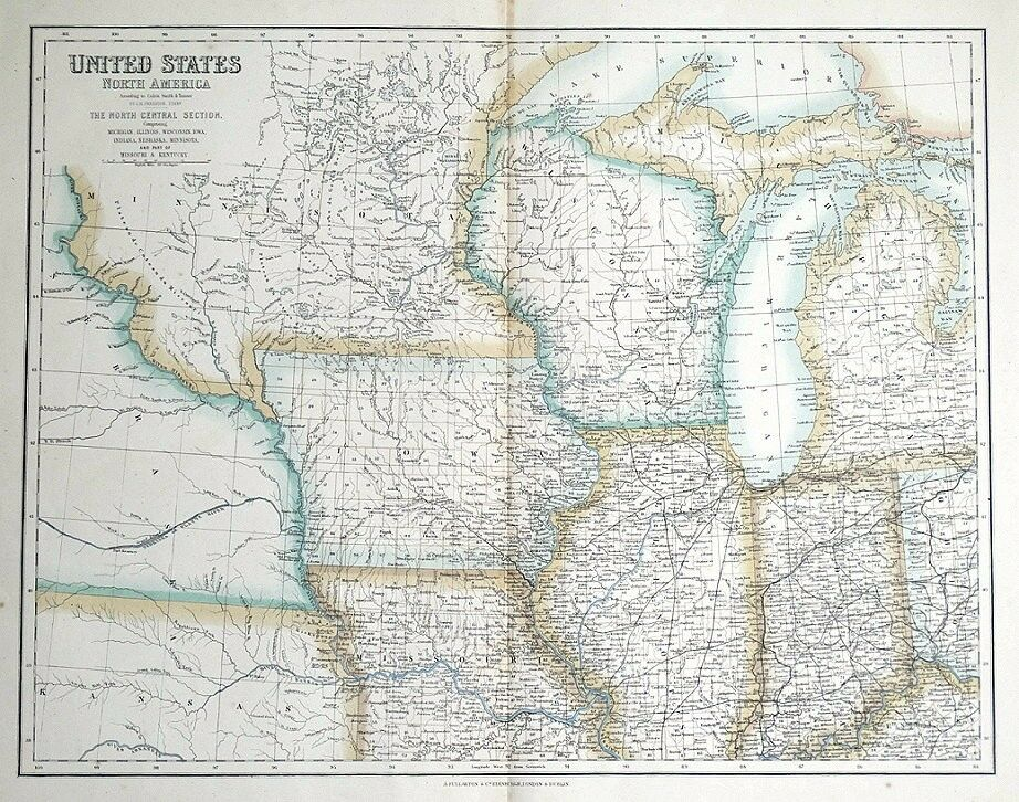 North Central Us Map.United States North America North Central Usa Fullarton Antique