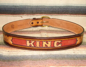 Custom Vintage Tony Lama Tooled Leather Letter Name Western Belt Most Sizes NEW