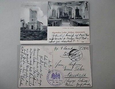 Abenhofen Aboncourt Lothringen gel. 1916 Feldpost zerstörte Kirche Innen/Aussen