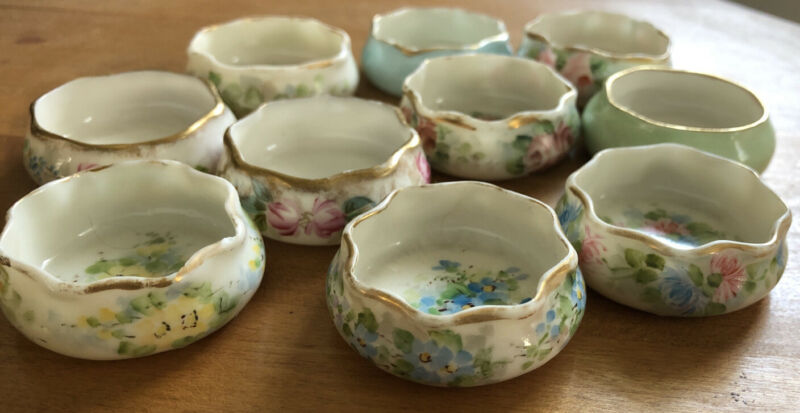 Set Of 10 BELLEEK Porcelain  Salt Cellars.