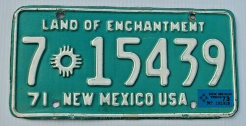 """1971 1973 NEW MEXICO TRUCK LICENSE PLATE """" 7 15439 """" NM  DONA ANA CO  LAS CRUCES"""