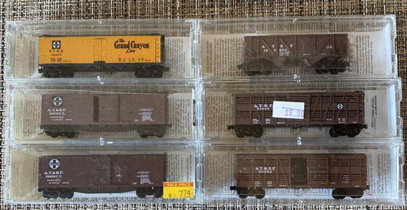 N-Scale - Lot# 051301 qty 6 Micro-Trains Freight Cars AT&SF Santa Fe