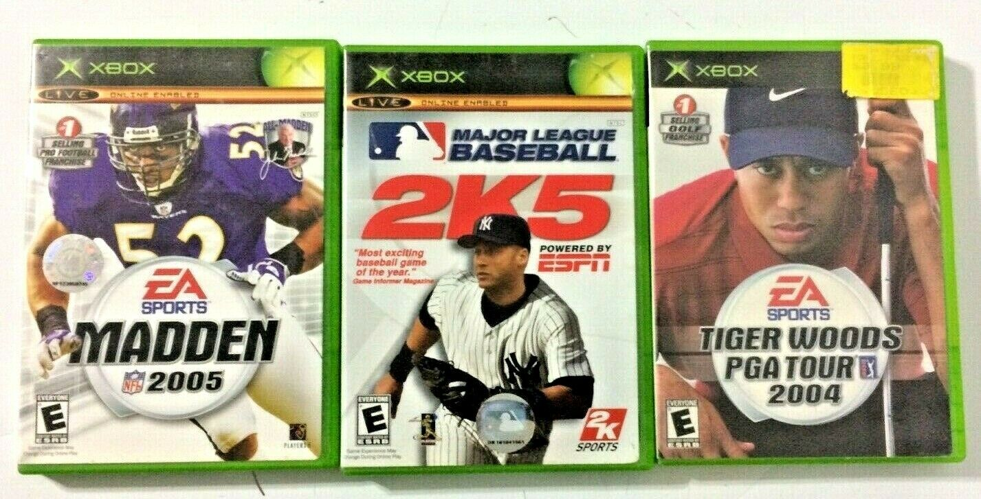 Lot Of 3 Microsoft Original Xbox Sports Video Games NFL, MLB, Golf  - $2.99