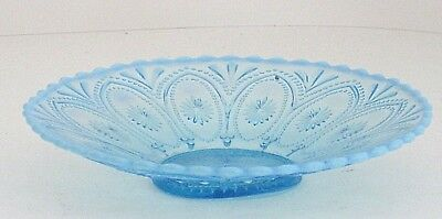 """Dish Bowl Light Blue Opalescent Glass Unmarked Scalloped Edge Inclusion 8.5"""""""