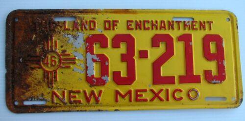 """1946 NEW MEXICO AUTO  LICENSE PLATE """" 63  219 """" NM 46 ALL ORIGINAL CONDITION"""