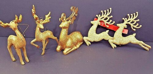 "Reindeer Ornaments & Figurine Gold Glitter Set Of 5 - 4"" To 5"" NWOT"