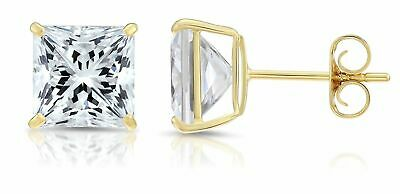 14K Yellow Gold Square Princess Cut Cubic Zirconia Stud Earrings Sizes 3-8 MM 14k Cubic Zirconia Earring Princess Stud