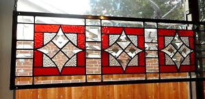 Triptych-- Stained Glass Window Panel Hanging -8 3/4