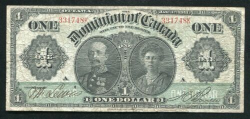 DC-18a 1911 $1 ONE DOLLAR DOMINION OF CANADA BANKNOTE VERY FINE
