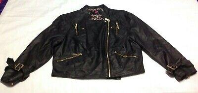 BEBE Sport Cropped Black Coat Jacket size Large Faux Leather Zip