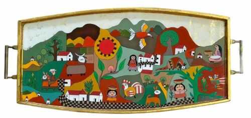 La Palma El Salvador Folk Art Gilt Wood & Glass Painted Tray Signed SaRi 17.5""