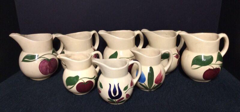 Lot of Eight Original Watt Ware Pottery # 15 & # 62 Pitchers