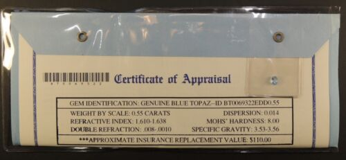 Gemstone Gem Stone Appraisal Genuine Blue Topaz 0.55 Carats COA $110 Oval Nov