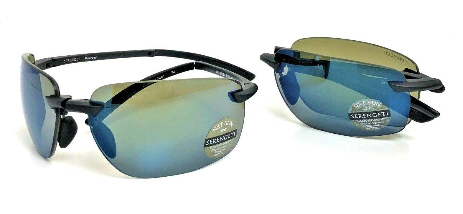 SERENGETI SAVIO Men Round Oval Pilot SUNGLASSES Black OLARIZED Blue Mirror 8560
