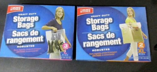 Heavy Duty Storage Bag Set L Bags (15X15)  2XL (20.5X17) Set of 2 (5 Bags Total)
