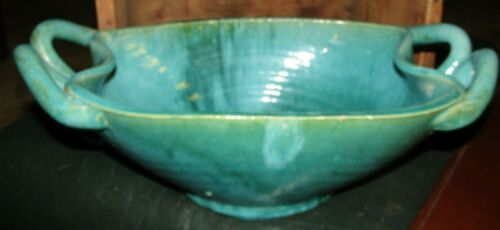 AWESOME CAROLINA CRAFT AMERICAN HANDMADE TURQUOISE POTTERY BOWL-LOOK !!