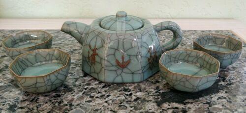 Chinese Miniature Yue Kiln Celadon Green Crackle Glaze Tea Set with Wooden Box
