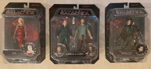 BATTLESTAR GALACTICA Starbuck Leoben + Apollo + Six Diamond Select Action Figure